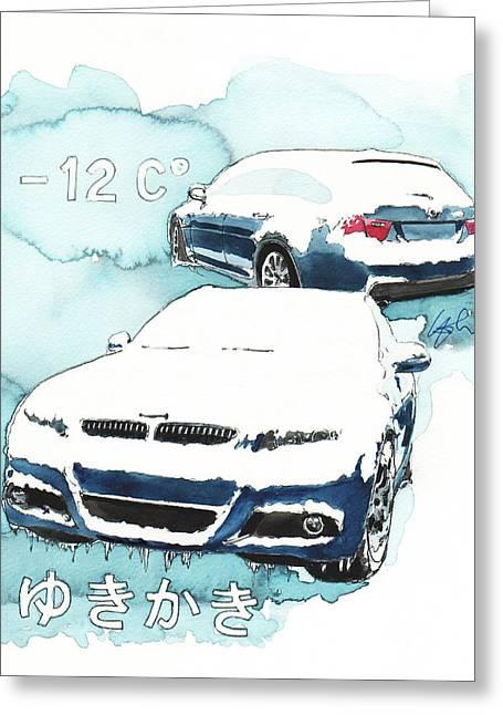 Station Wagon Greeting Cards - BMW 3 series Greeting Card by Yoshiharu Miyakawa
