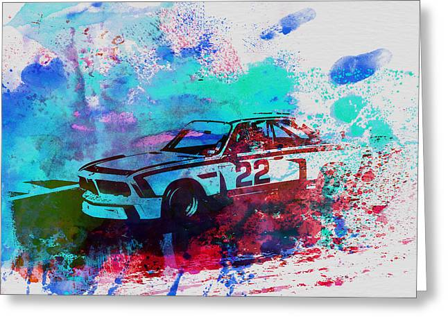 Bmw Watercolor Greeting Cards - Bmw 3.0 Csl  Greeting Card by Naxart Studio
