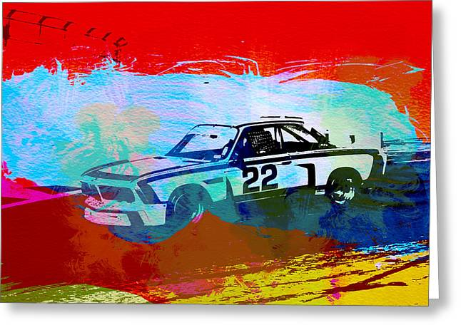 Bmw Watercolor Greeting Cards - BMW 3.0 CSL Racing Greeting Card by Naxart Studio