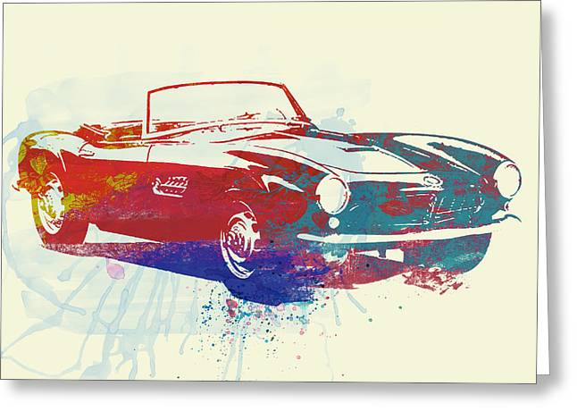 Bmw Watercolor Greeting Cards - Bmw 507 Greeting Card by Naxart Studio
