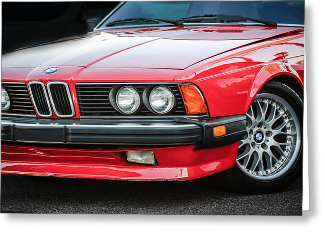 Bmw Vintage Cars Greeting Cards - BMW 635CSI Grille -1718c Greeting Card by Jill Reger