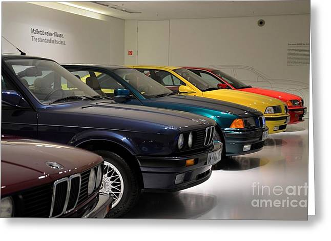 Saloons Greeting Cards - BMW cars through the years Greeting Card by Imran Ahmed