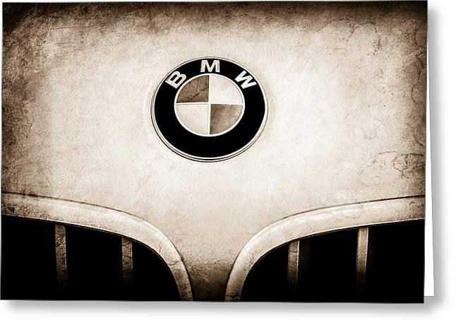 Bmw Emblem Greeting Cards - BMW Emblem -0017s Greeting Card by Jill Reger