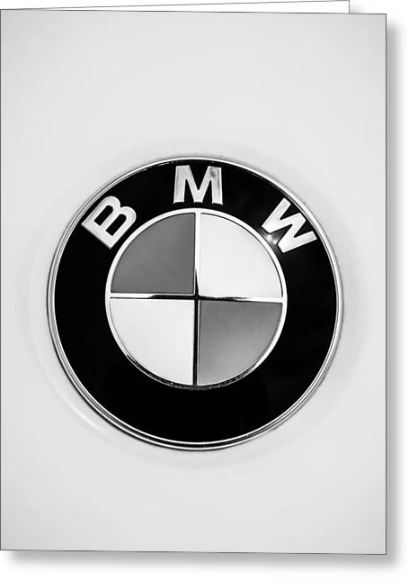 Bmw Emblem Greeting Cards - BMW Emblem -0023bw45 Greeting Card by Jill Reger