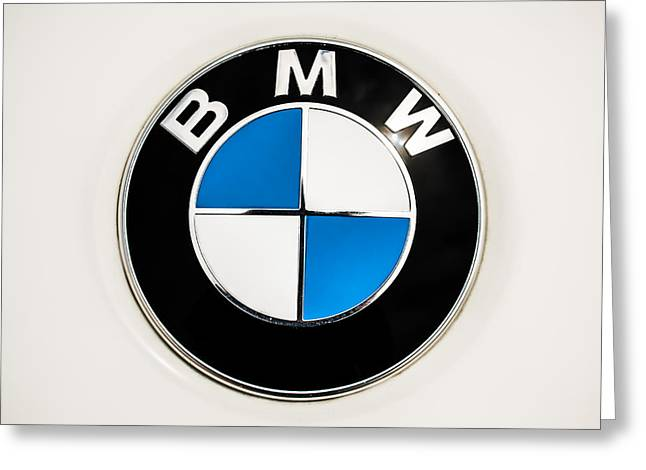 Bmw Emblem Greeting Cards - BMW Emblem -0023c Greeting Card by Jill Reger