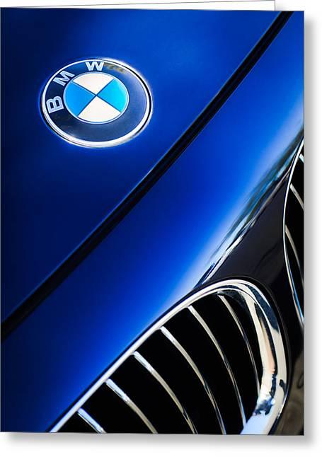 Bmw Emblem Greeting Cards - BMW Emblem -0043c Greeting Card by Jill Reger
