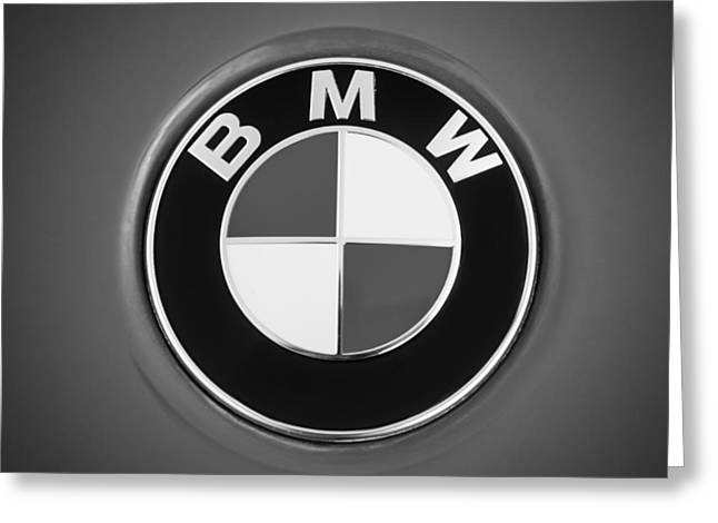 Famous Photographer Greeting Cards - BMW Emblem -0460bw Greeting Card by Jill Reger