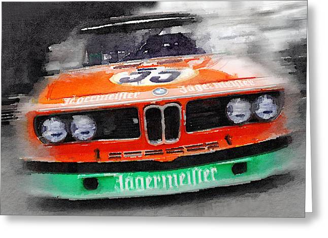 German Race Car Greeting Cards - BMW Front End Watercolor Greeting Card by Naxart Studio
