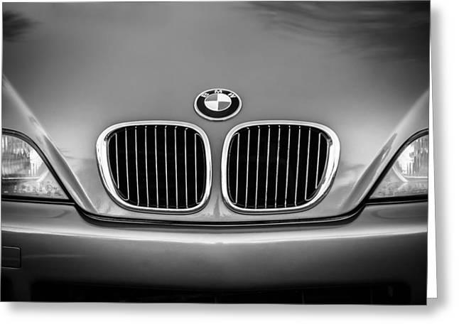 Bmw Emblem Greeting Cards - BMW Grille -1123bw Greeting Card by Jill Reger
