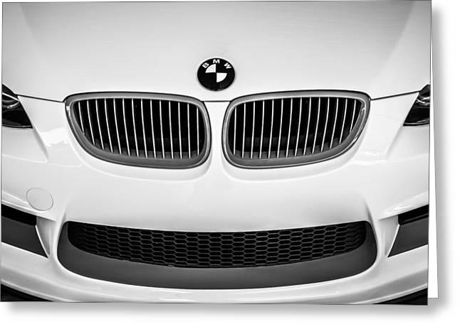 Bmw Emblem Greeting Cards - BMW Grille Emblem -0009bw Greeting Card by Jill Reger