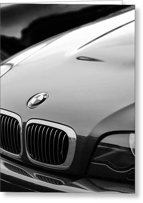 Bmw Emblem Greeting Cards - BMW Grille Emblem -0773bw Greeting Card by Jill Reger