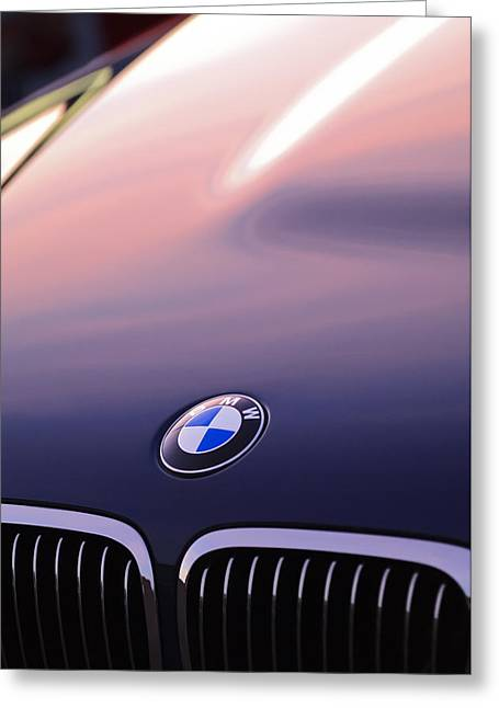 Ornaments Greeting Cards - BMW Hood Emblem Greeting Card by Jill Reger