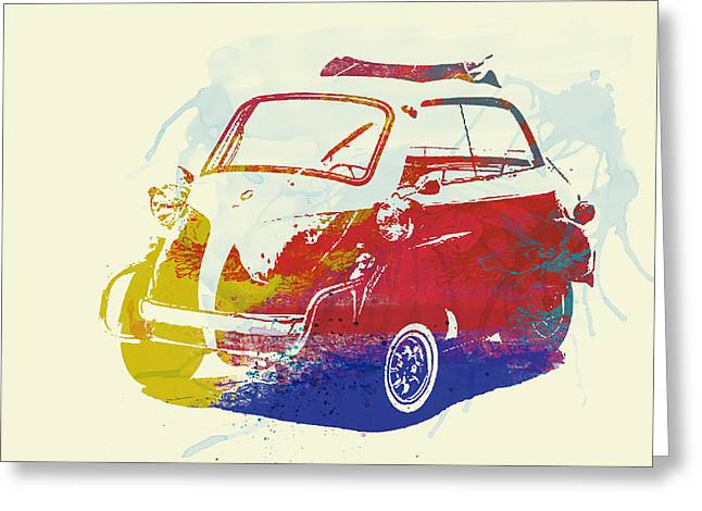Bmw Watercolor Greeting Cards - BMW Isetta Greeting Card by Naxart Studio