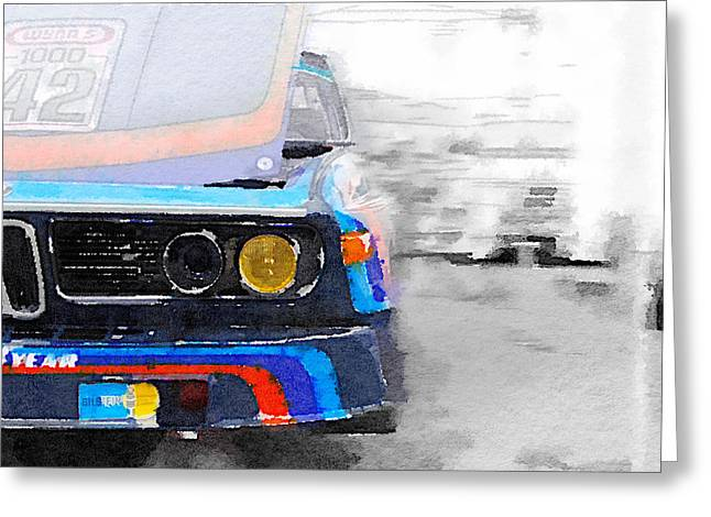 Bmw Racing Car Greeting Cards - BMW Lamp and Grill Watercolor Greeting Card by Naxart Studio