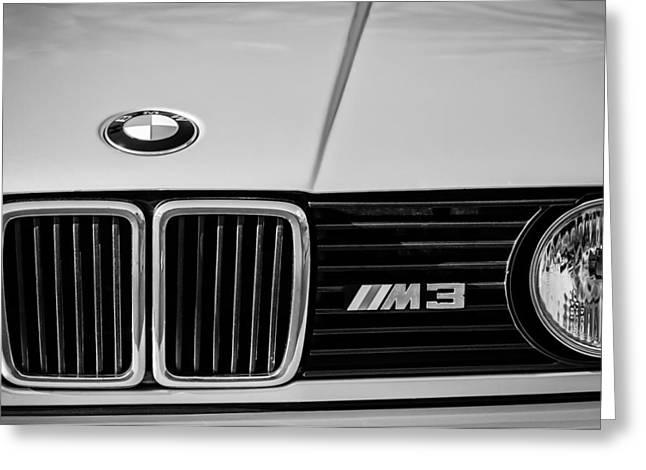 Bmw Emblem Greeting Cards - BMW M3 Hood Ornament - Grille Emblem -0311bw Greeting Card by Jill Reger