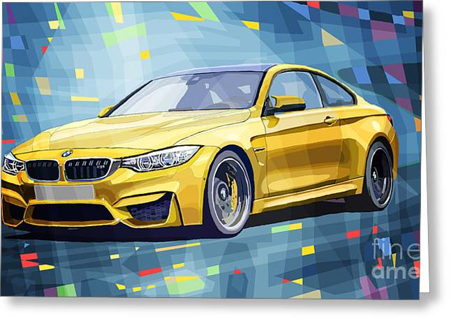 Classic Mixed Media Greeting Cards - BMW M4 Blue Greeting Card by Yuriy Shevchuk