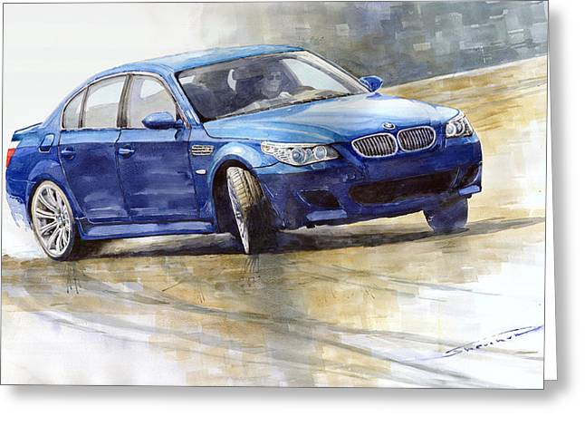 Blue Classic Car Greeting Cards - Bmw M5 2006 01 Greeting Card by Yuriy Shevchuk