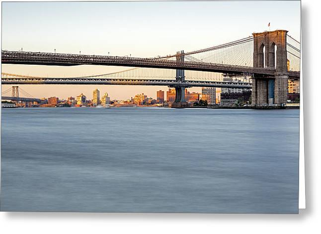 Maritime Greeting Cards - BMW New York City Bridges Greeting Card by Susan Candelario