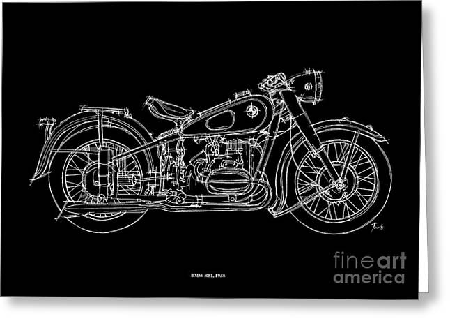 White On Black Greeting Cards - Bmw R51 1958 Greeting Card by Pablo Franchi