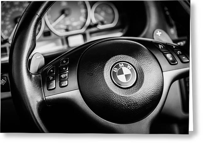 Bmw Emblem Greeting Cards - BMW Steering Wheel Emblem -0747bw Greeting Card by Jill Reger