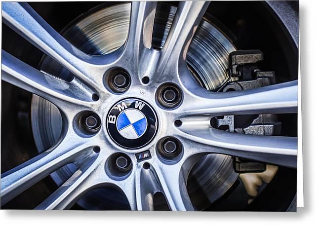 Bmw Emblem Greeting Cards - BMW Wheel Emblem -0049c Greeting Card by Jill Reger