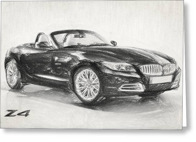 Charcoal Car Greeting Cards - BMW Z4 Sketch Greeting Card by Taylan Soyturk