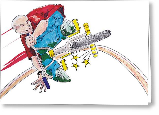 Technical Paintings Greeting Cards - BMX drawing peg grind Greeting Card by Mike Jory