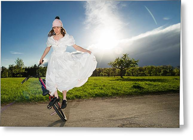 Bmx Flatland Bride In White Wedding Dress Greeting Card by Matthias Hauser