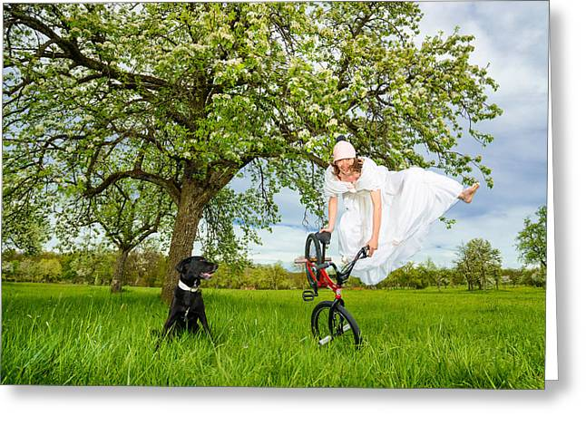 Bmx Flatland Bride Jumps In Spring Meadow Greeting Card by Matthias Hauser