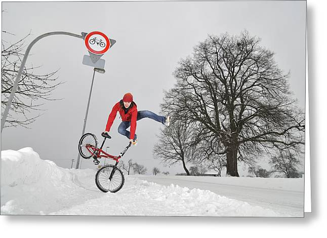 Wintry Photographs Greeting Cards - BMX Flatland in the snow - Monika Hinz jumping Greeting Card by Matthias Hauser