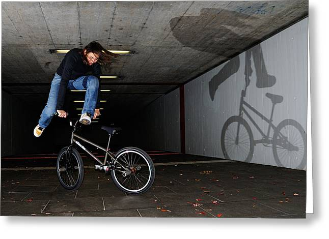 Bmx Flatland Monika Hinz Doing Awesome Trick With Her Bike Greeting Card by Matthias Hauser