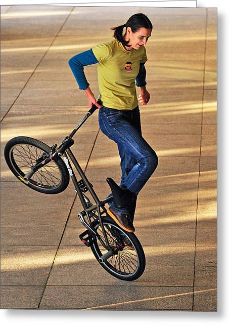 Bmx Flatland Ride - Wonderful Warm Light Greeting Card by Matthias Hauser