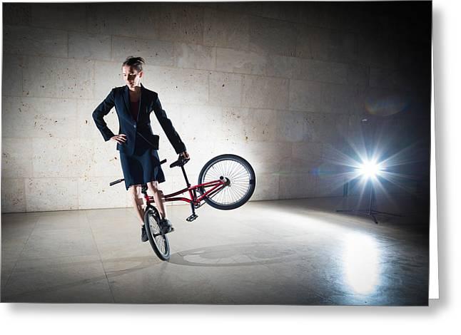 Rad Greeting Cards - BMX Flatland rider Monika Hinz elegant and cool Greeting Card by Matthias Hauser