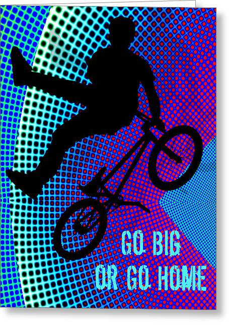 Teenager Tween Silhouette Athlete Hobbies Sports Greeting Cards - BMX Fractal Movie Marquee Go Big or Go Home Greeting Card by Elaine Plesser