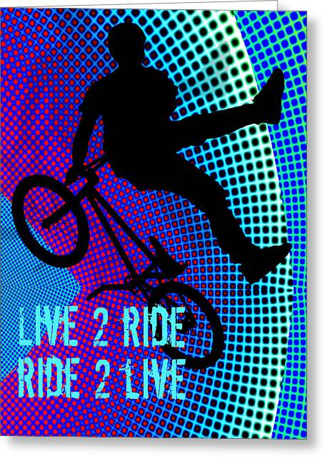 Teenager Tween Silhouette Athlete Hobbies Sports Greeting Cards - BMX Fractal Movie Marquee Live 2 Ride Ride 2 Live Greeting Card by Elaine Plesser