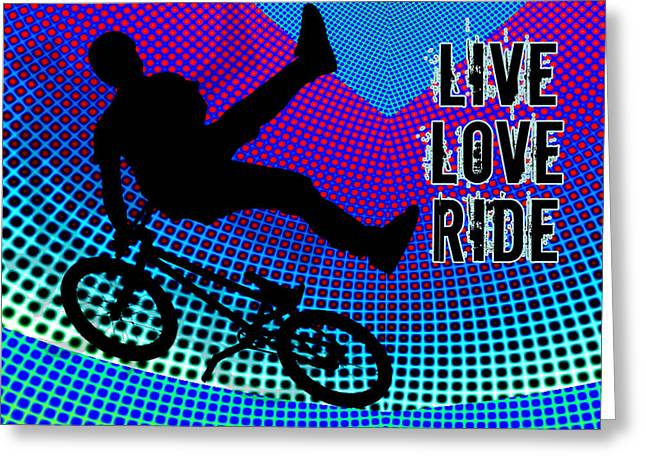 Teenager Tween Silhouette Athlete Hobbies Sports Greeting Cards - BMX Fractal Movie Marquee Live Love Ride Greeting Card by Elaine Plesser