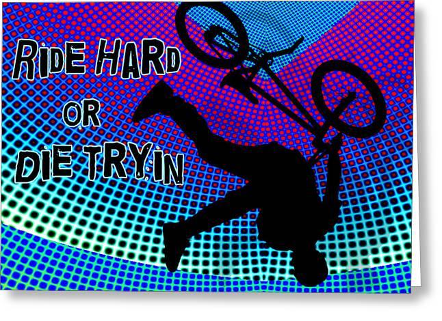 Teenager Tween Silhouette Athlete Hobbies Sports Greeting Cards - BMX Fractal Movie Marquee Ride Hard or Die Tryin Greeting Card by Elaine Plesser