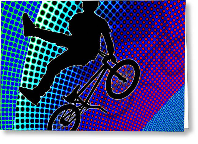 Bmx In Fractal Movie Marquee Greeting Card by Elaine Plesser