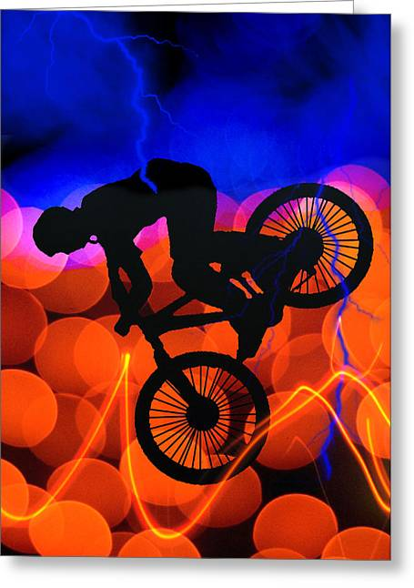 Teenager Tween Silhouette Athlete Hobbies Sports Greeting Cards - BMX in Light Crystals and Lightning Greeting Card by Elaine Plesser