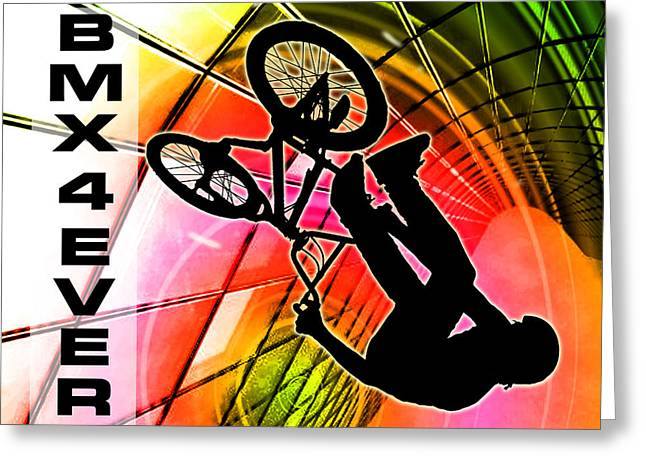 Teenager Tween Silhouette Athlete Hobbies Sports Greeting Cards - BMX in Lines and Circles BMX 4 Ever Greeting Card by Elaine Plesser