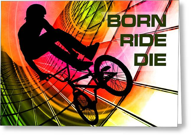Teenager Tween Silhouette Athlete Hobbies Sports Greeting Cards - BMX in Lines and Circles Born Ride Die Greeting Card by Elaine Plesser