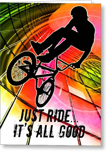Teenager Tween Silhouette Athlete Hobbies Sports Greeting Cards - BMX in Lines and Circles Just Ride Its All Good Greeting Card by Elaine Plesser
