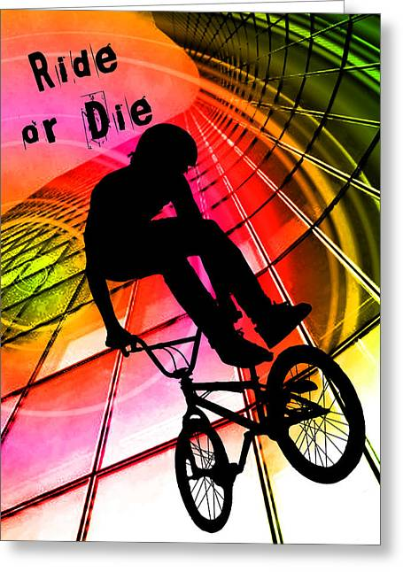 Teenager Tween Silhouette Athlete Hobbies Sports Greeting Cards - BMX in Lines and Circles Ride or Die Greeting Card by Elaine Plesser