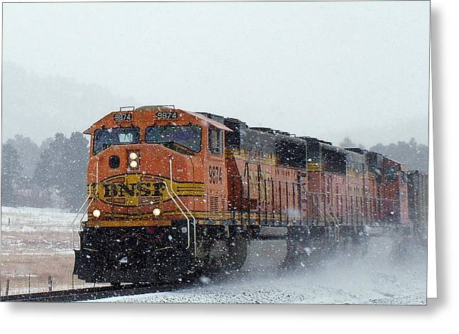 Diesel Locomotives Greeting Cards - BNSF Empty Coal Drag Greeting Card by Ken Smith