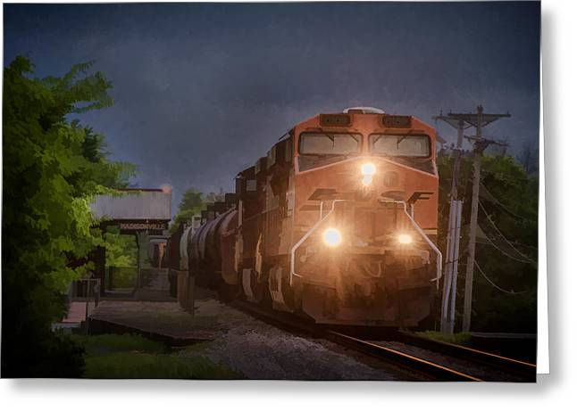 Bnsf Greeting Cards - BNSF Train Southbound Greeting Card by Jim Pearson