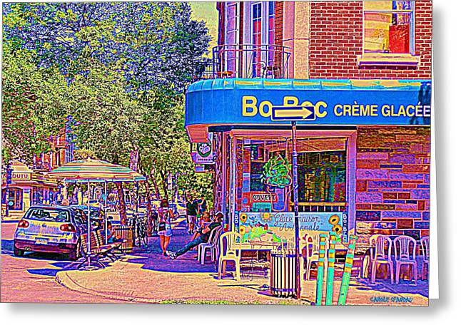 Bo Bec Creme Glacee Ice Cream Shop Laurier Montreal Springtime Cafe Scene By Carole Spandau Greeting Card by Carole Spandau