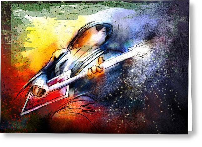 Bos Bos Digital Art Greeting Cards - Bo Diddley Madness Greeting Card by Miki De Goodaboom