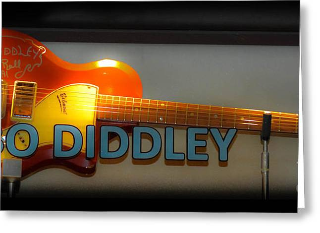 Playing Musical Instruments Greeting Cards - Bo Diddleys Guitar Greeting Card by Gary Keesler