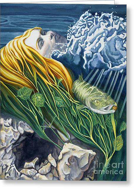 Best Sellers -  - Salmon Paintings Greeting Cards - Boann Transformation of a Goddess Greeting Card by Antony Galbraith