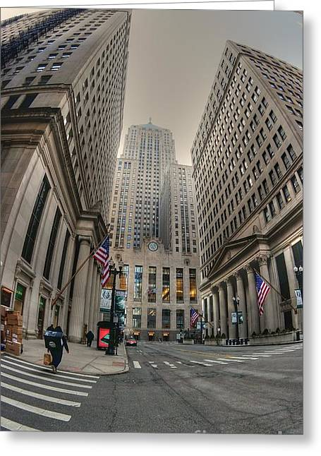 Chicago Board Of Trade Greeting Cards - Board of Trade and Fed Reserve Greeting Card by David Bearden